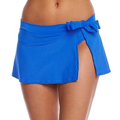 c90d14576a256f YoungSoul Damen Strandrock Bikini Rock Badeshorts Schwimmen Baderock mit  seitlichen Schlitzen und Taillenschnürung Blau EU 34