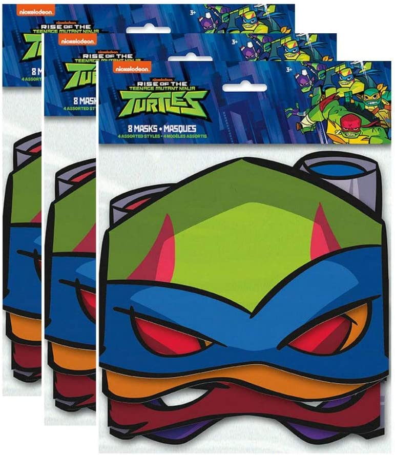 Teenage Mutant Ninja Turtles TMNT Birthday Party Masks Favors, 8 ct, 3 Pack