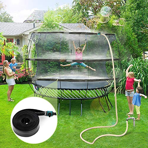 Trampoline Sprinklers for Kids, Trampoline Spray Water Park Fun Summer Water Toys Outdoor Toys for Toddlers Attach on Trampoline Safety Net Enclosure