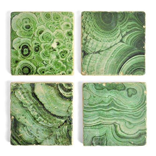 Studio Vertu Malachite Print Tumbled Marble Coasters, Set of 4 ()
