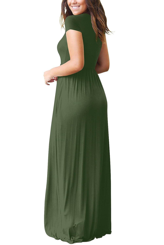 Dasbayla Damen Casual Lange Langarm Kleider mit Taschen: Amazon.de ...