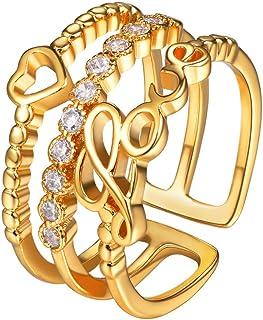 Suplight Bague Femme Fantaisie Anneaux Multirangs Love Coeur Motif Alliance Bijoux Tendance Fille Cadeau Idéal pour Anniversaire Saint Valentin LR8060W