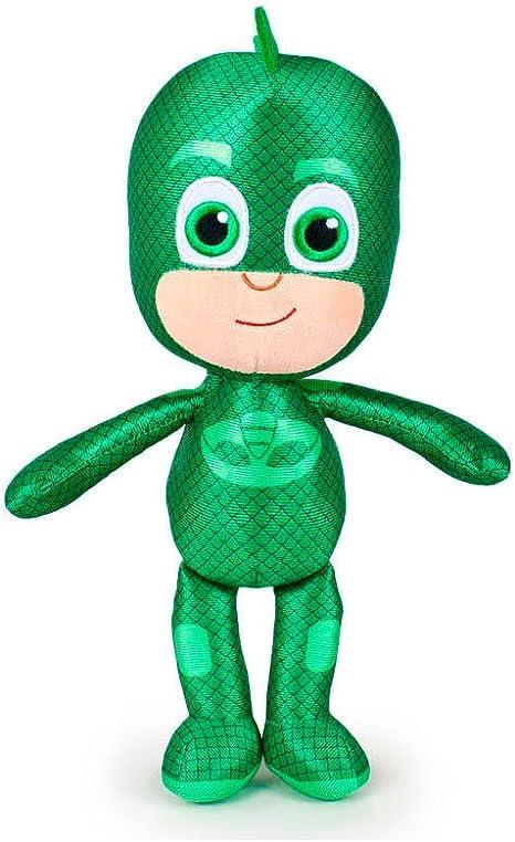 PJ Masks Héroes en Pijamas 5962 Peluche, 34 Centímetros, Calidad Super Suave, Gatuno, Buhíta, Gecko (Gecko)
