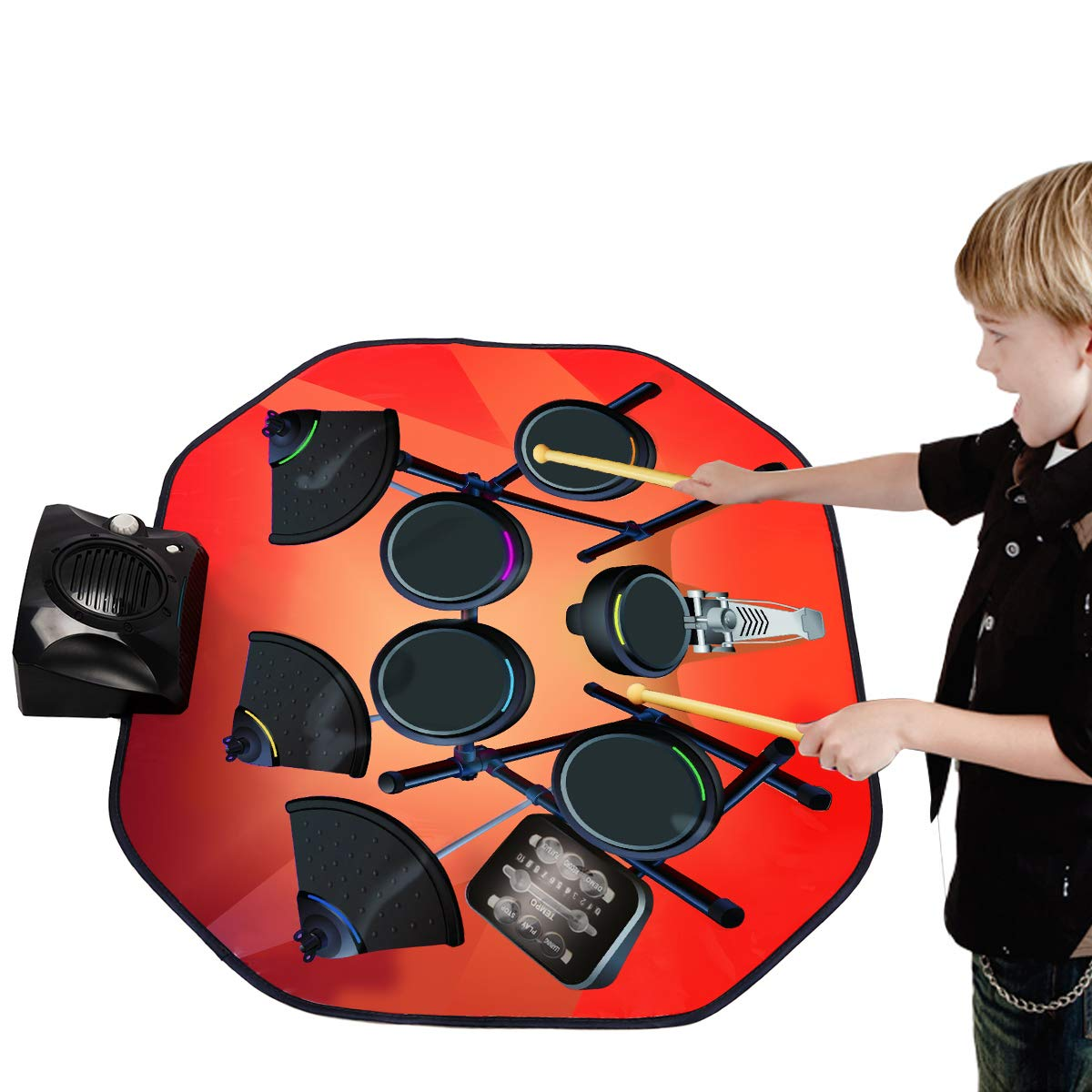 Costzon Electronic Drum Mat, 8 Keys Glowing Music Mat with LED Lights,MP3 Cable, Drumsticks, Support Play - Study-Record - Playback - Demo 5 Modes, Volume Control by Costzon (Image #7)