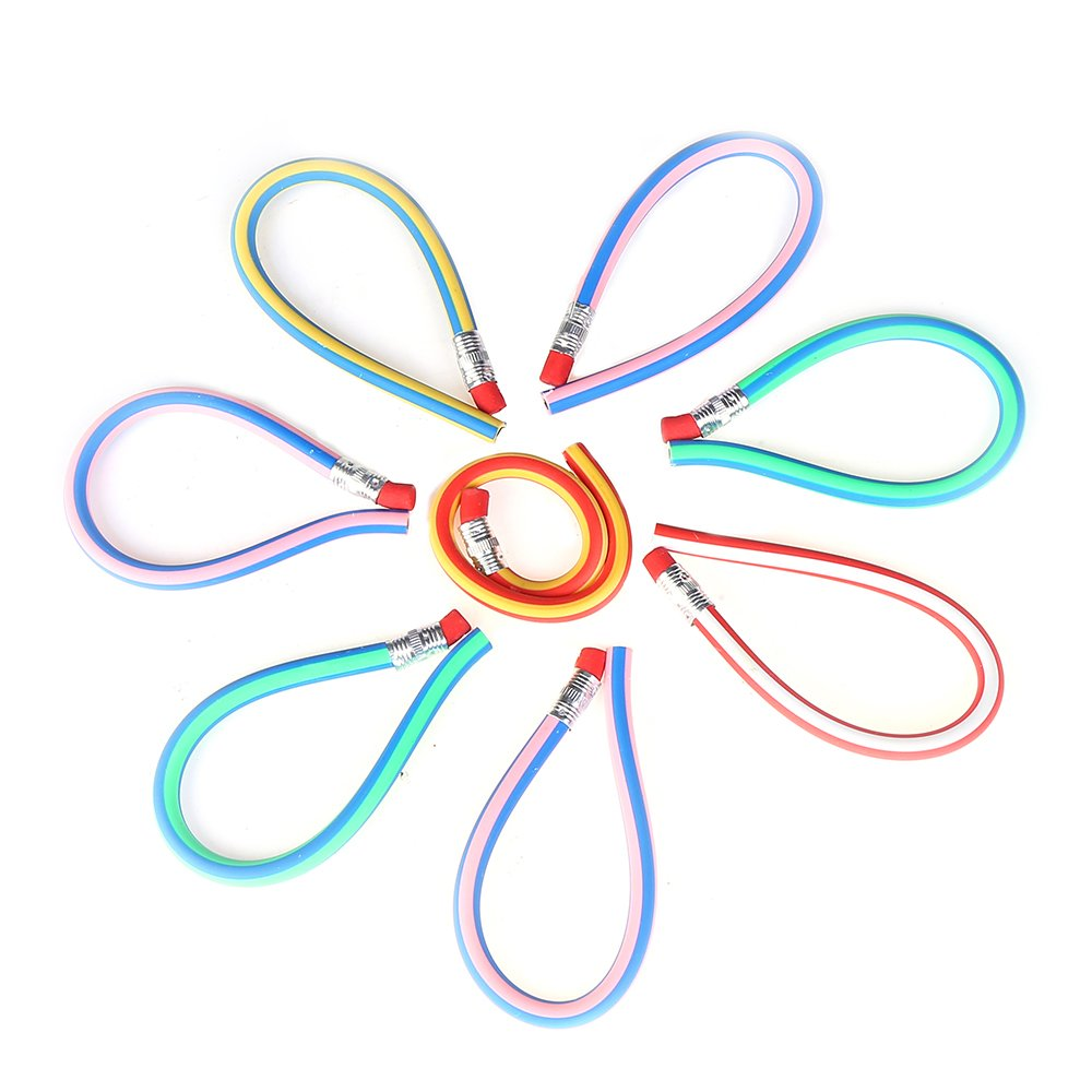 DECORA 50pcs Soft Flexible Bendy Pencils Kids Children School Fun Equipment Novelty Easter Toys Pack of 50