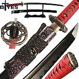 DTYES Full Handmade Japanese Samurai Katana Sword ((Original Katana) Damascus Steel Clay Tempered Blade-Red Snake Tsuba)
