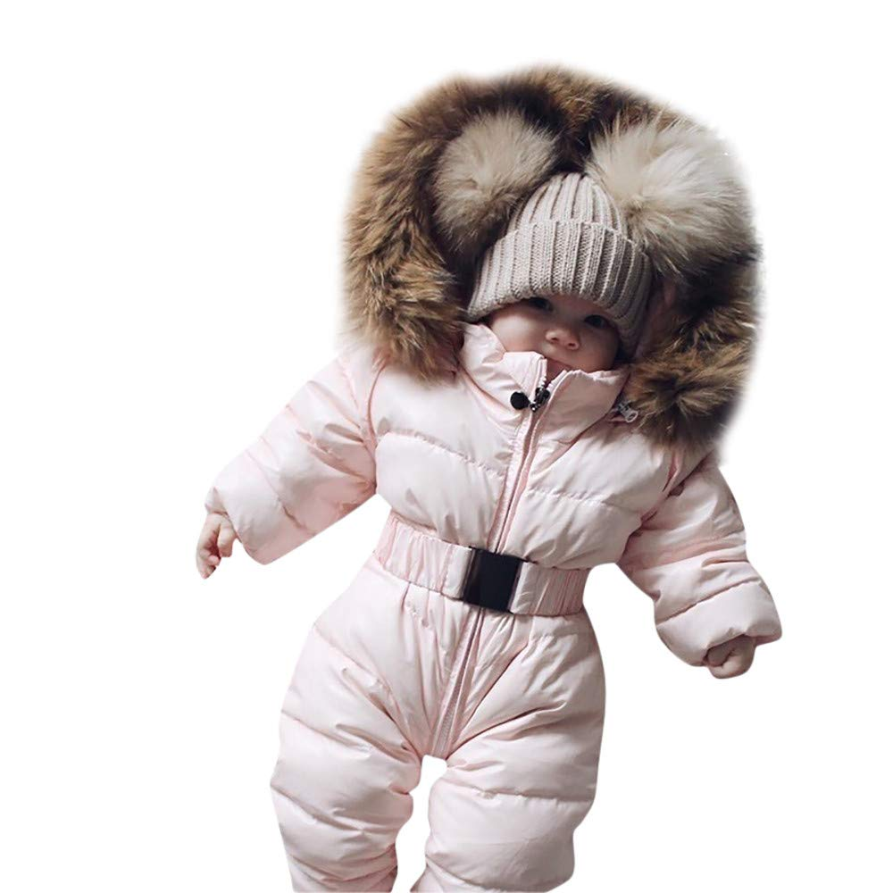 Fheaven (TM) Newborn Baby Boy Girl Winter Romper Jacket Pompom Hooded Jumpsuit Warm Thick Coat Outwear (6-9 Months, Pink)