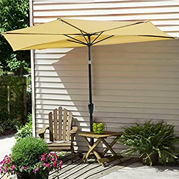 Amazing Yescom 10Ft Beige Outdoor Patio Half Umbrella Cafe Wall Balcony Door 5 Ribs  Tilt Aluminum Sun Shade