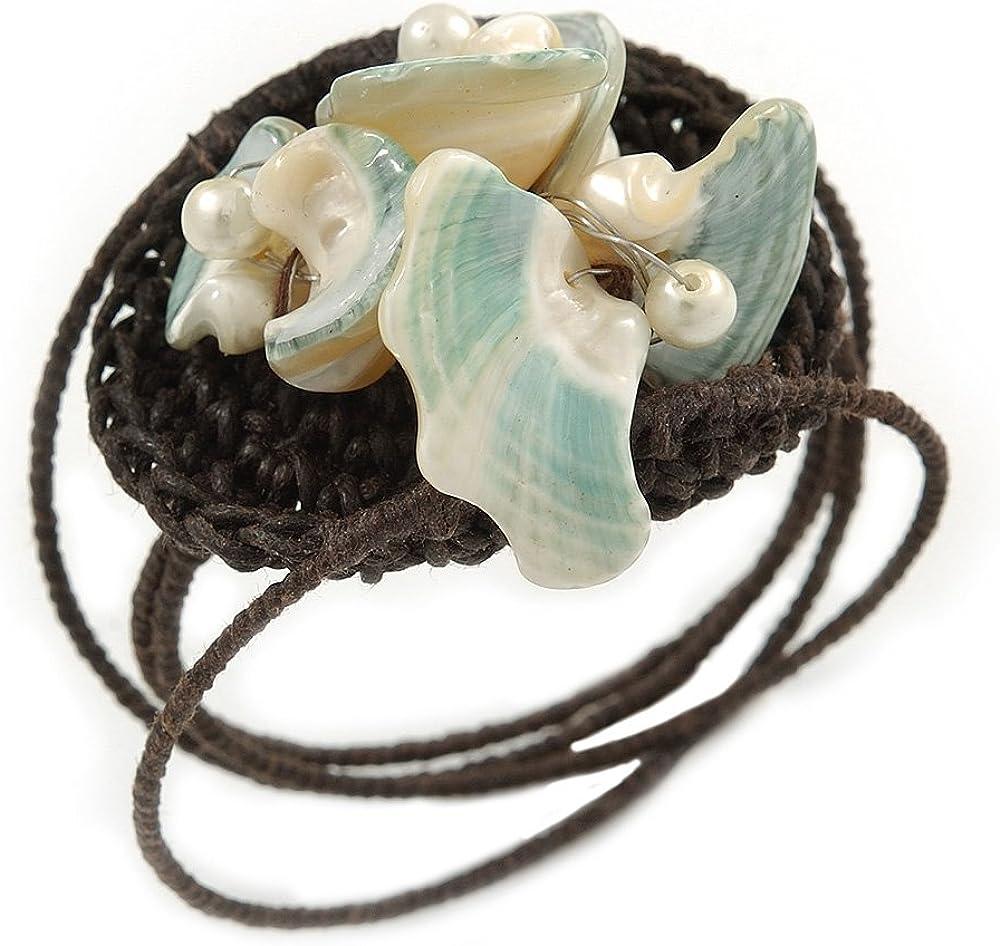Avalaya - Pulsera flexible con cordón de algodón marrón