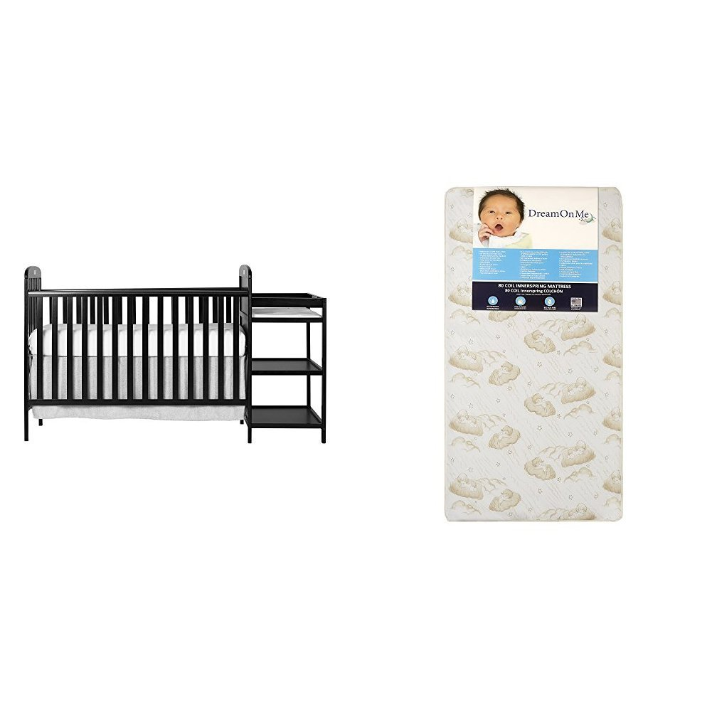 Dream On Me 4 in 1 Full Size Crib and Changing Table Combo with Dream On Me Spring Crib and Toddler Bed Mattress, Twilight