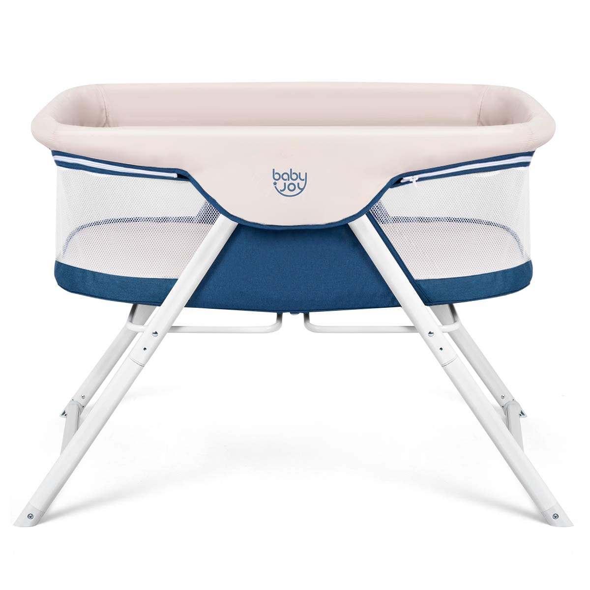 BABY JOY Rocking Bassinet, 2 in 1 Lightweight Travel Cradle w Detachable Washable Mattress, Zippered Breathable Mesh Side, Oxford Carry Bag Included, Portable Crib for Newborn Baby Beige Blue