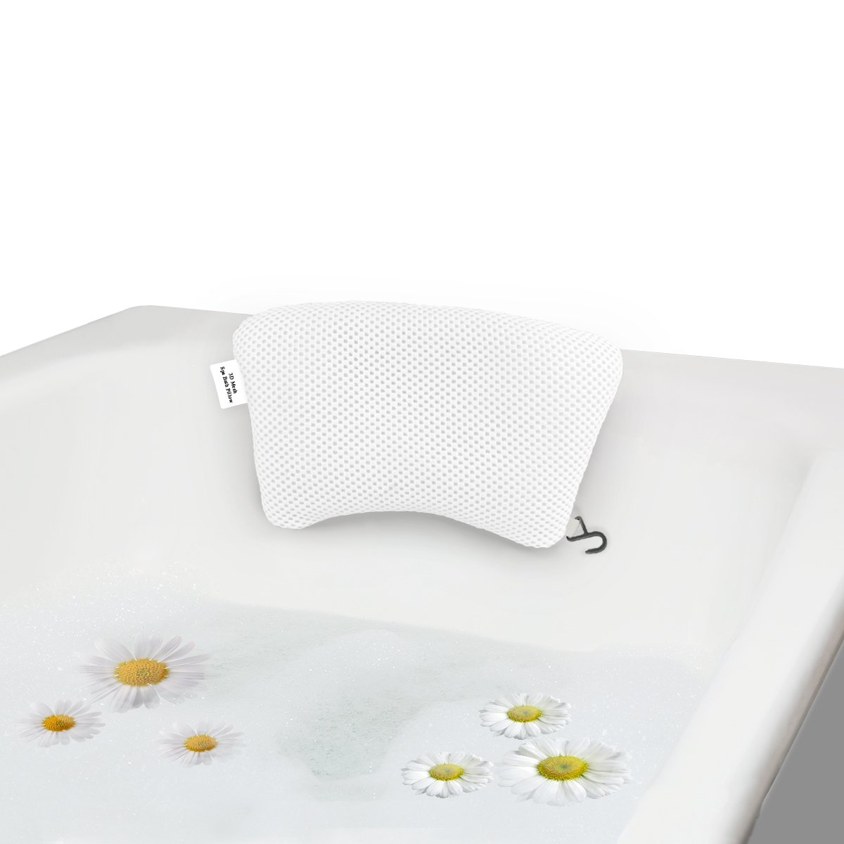 Feelkaus Luxury Bath Pillow New Version 3D Mesh, Sof Spa Neck Support with Non-Slip Gripping Suction Cups for Bathtub Mold Resist Pillow