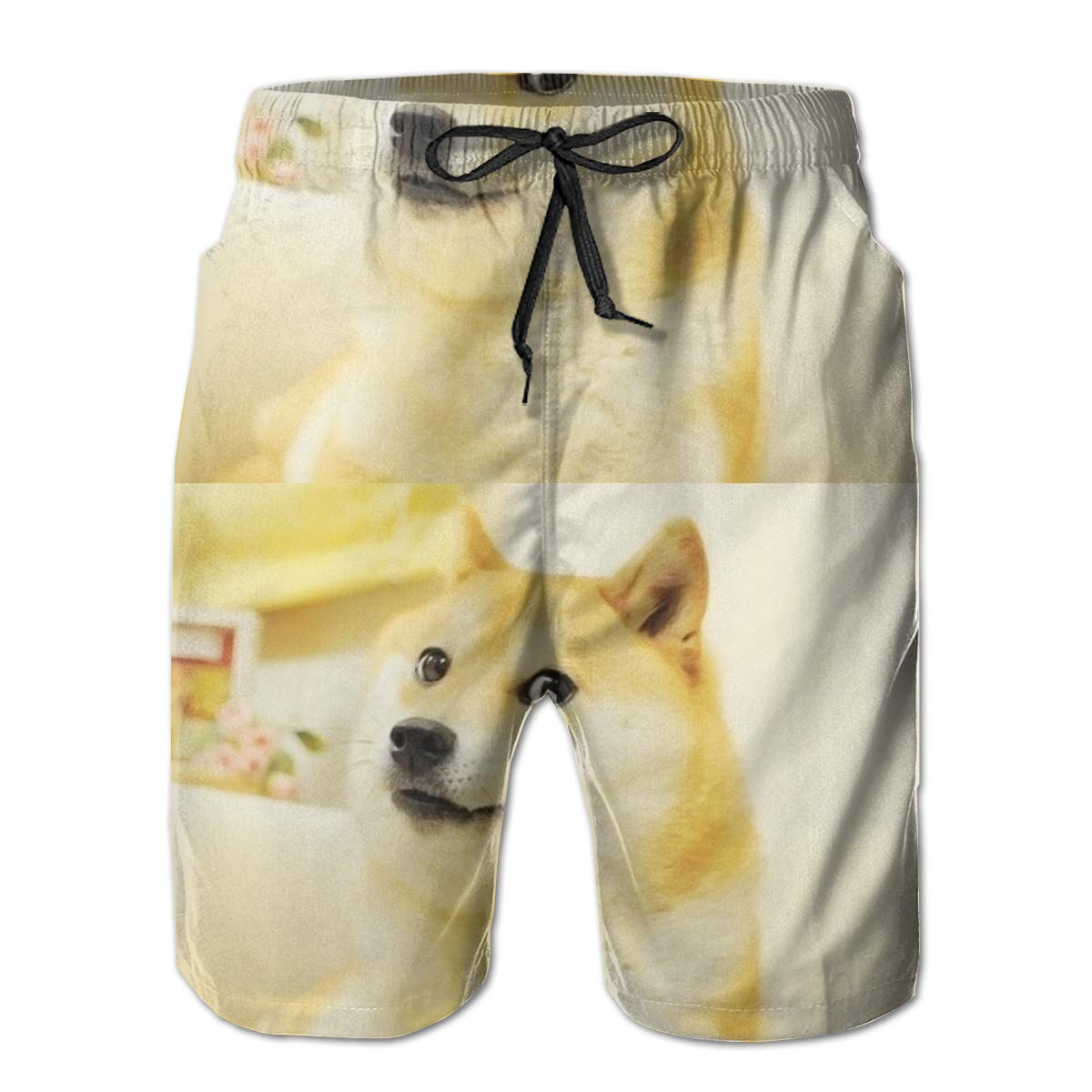 WWT Shiba Inu Mens Fashion Funny Swim Trunks with Mesh Lining//Side Pockets