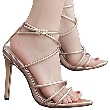 43e0e52291411 Amazon.com: Fainosmny Womens Sexy High Heels Fashion Bandage Buckle ...