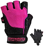 Contraband Pink Label 5127 Womens Vegan Weight Lifting Gloves w/Synthetic Microfiber Amara Leather (Pair) - Machine Washable Fingerless Workout Gloves Designed for Women (Pink, Medium)