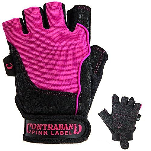 Womens Pink Glove (Contraband Pink Label 5127 Womens Weight Lifting Gloves w/Comfort-Soft Interior Padding (PAIR) (Black/Pink, Medium))
