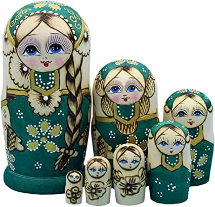 Hand Painted Wooden 7pcs Russian Nesting Doll Stacking Matryoshka Kids Toy