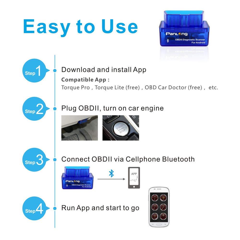 Panlong Bluetooth OBD2 lumi/ère de Moteur de contr/ôle du Lecteur de Scanner de Diagnostic de Voiture 327 pour Android Bluetooth pour Android Travail avec Un Couple Pro//Lite