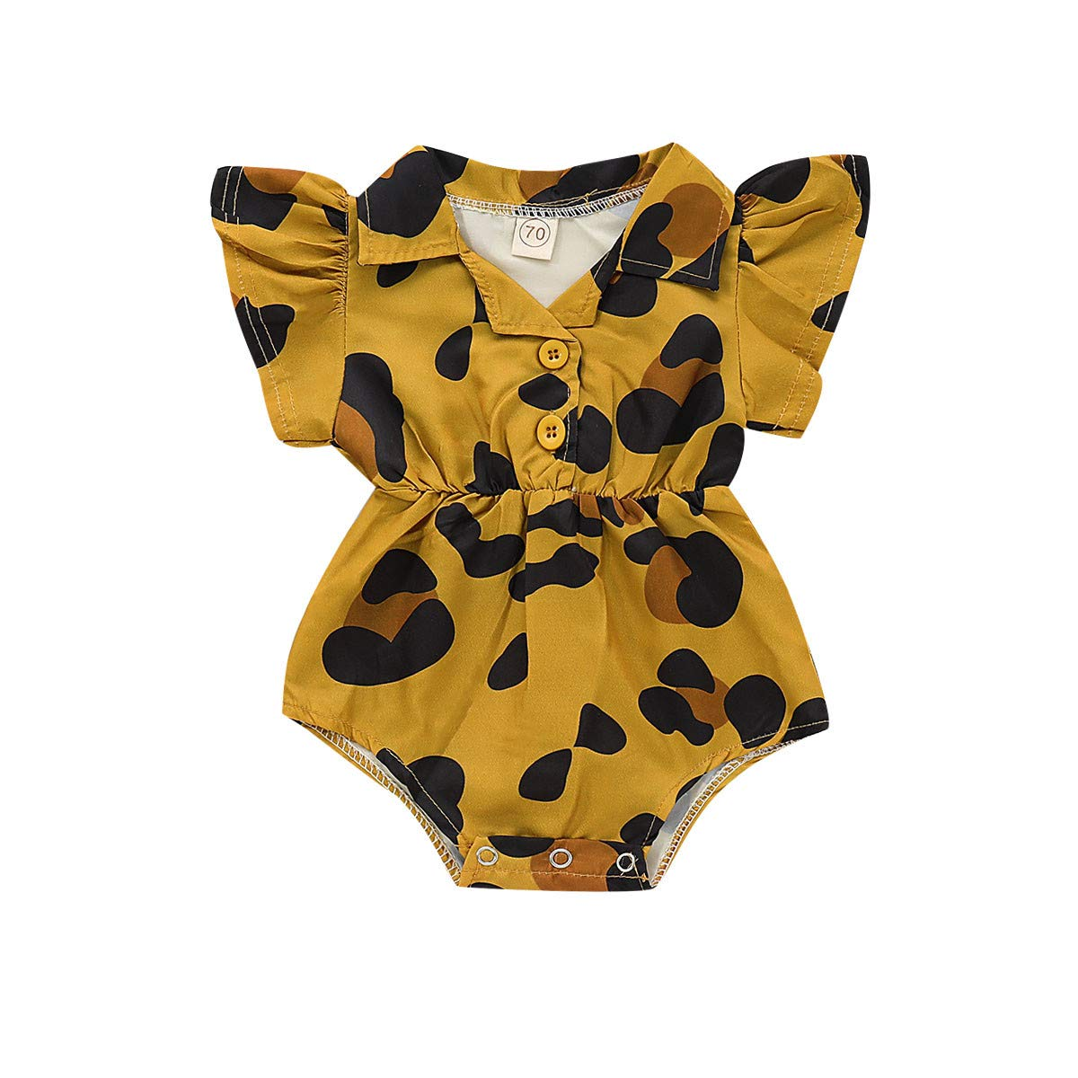 Toddler Infants Baby Leopard Print Fly Sleeveless Romper Bodysuit Cute Casual Button Collar Sleepwear Outfits Bodysuits (Yellow, 18-24 M)
