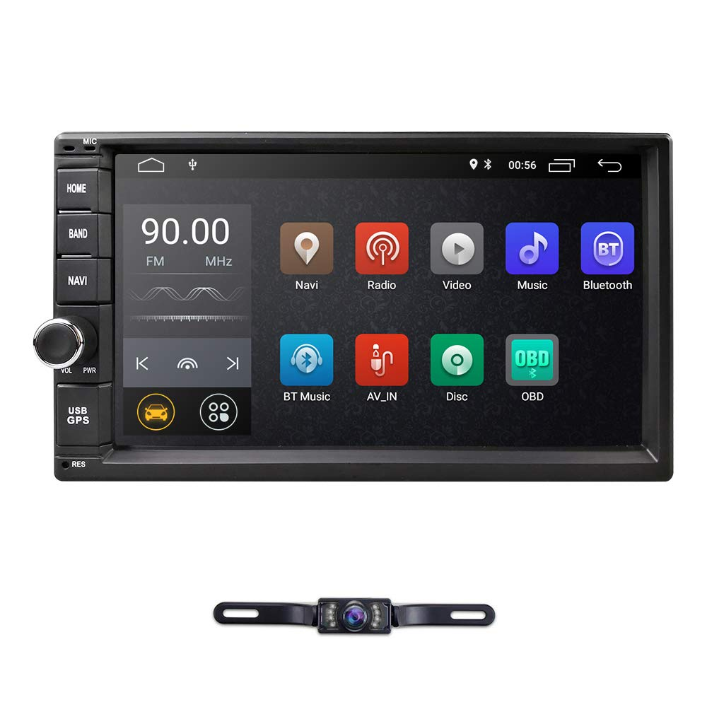 """7/"""" HIZPO Touch Screen 1024*600 Android 9.0 Double 2Din DAB Stereo GPS Navi+Cam"""