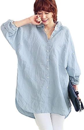 Camisa Larga Mujer Manga Larga Solapa Un Festival De de Moda Solo Pecho Camisas Lino Anchas Informales Color Sólido Shirts Tunicas Camisa Primavera Otoño: Amazon.es: Ropa y accesorios