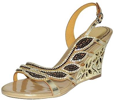 711b00fcdd1 YooPrettyz Jewel Embellished Evening Wedge Sandals Cutout Dress Slingback  Dress Wedge Heels Gold 3
