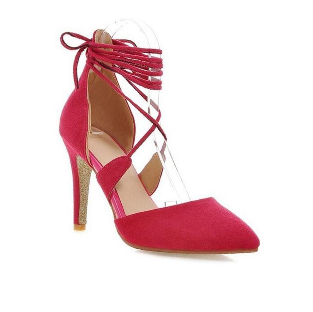 XIE Zapatos de la Corte de Las Mujeres Bajo para Ayudar a la Correa de la Boca Poco Profunda Punta Dedo del pie Fino con Tacones Altos, Peach Red, 38 PEACHRED-38