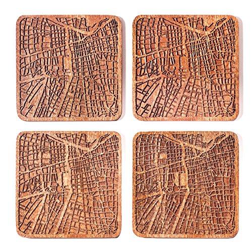 - Santiago de Chile Map Coaster by O3 Design Studio, Set Of 4, Sapele Wooden Coaster With City Map, Handmade