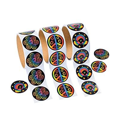 Fun Express Rolls of Rainbow Stickers - 100 Stickers Per Roll Novelty: Toys & Games