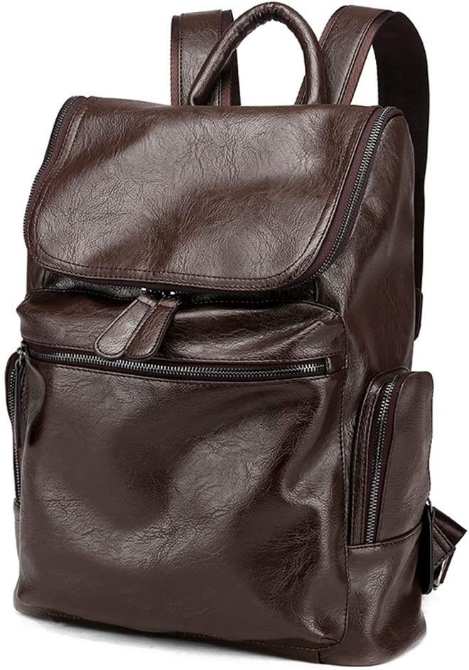 Color : Brown, Size : 30cm x 12cm x 41cm Zhouminli Mens Backpack Men Leather Backpack Laptop Daypack Leather Travel Shoulder Bag College Bag for Men