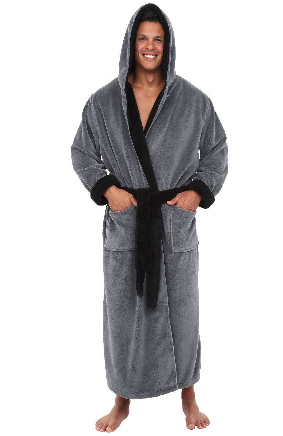 Alexander Del Rossa Mens Fleece Robe with Contrast, Long Hooded Bathrobe A0125-Contrast