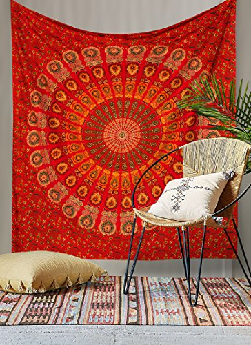 RawyalCrafts- Red Peacock Mandala Tapestries, Hippie Wall Hanging Tapestries , Throw Bedspread, Superior Quality Hippie Wall Tapestry, Handicrunch Dorm Decor