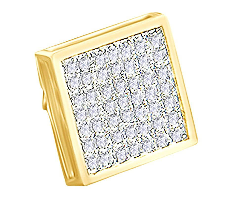 0.38 Cttw Round Cut White Natural Diamond Hip Hop Mens Cluster Single Stud Earring 14K Solid Gold