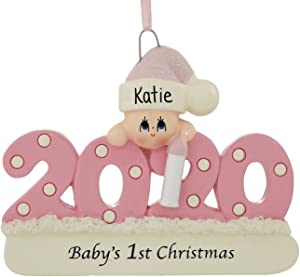 2020 Baby's 1st Christmas Ornament Personalized (Pink (Girl))
