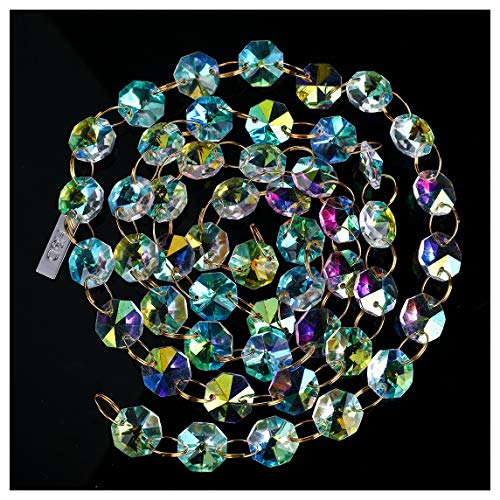 H&D 6FT AB-Color 14mm Octagon Beaded Chain Chandelier Prisms Hanging Wedding Garland Decoration Ornament