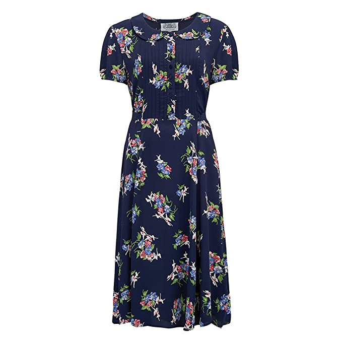 1930s Dresses, Shoes, Lingerie, Clothing UK The Seamstress of Bloomsbury Dorothy Dress in Navy Floral by Authentic Vintage 1940s Style £79.00 AT vintagedancer.com
