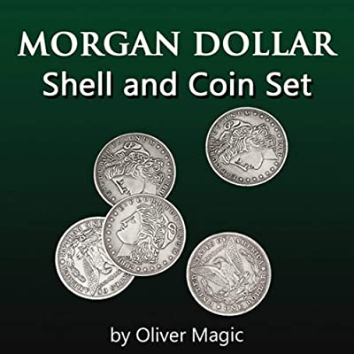 icechan Morgan Dollar Shell and Coin Set (5 Coin +1 Head Shell+1 Tail Shell) by Oliver Magic Coin Magic Tricks Illusions Close up Fun: Toys & Games