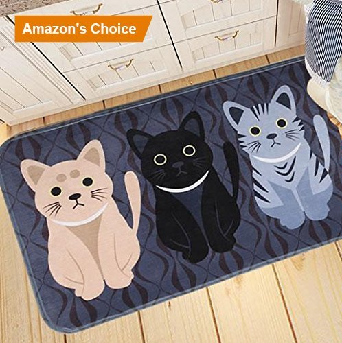 Elohas Go Away Rubber Deep Blue Welcome Doormat Runner Inserts Indoor Outdoors Natural Easy Clean Cute Cat Floor Rug Door Mats For Entry Way Patio, Front Door, All Weather Exterior , 16X24""