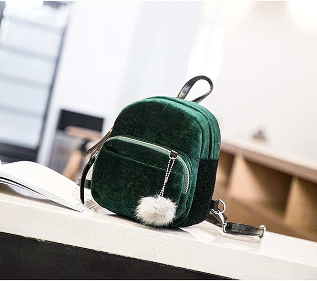 KONFA Fashion Mini Backpack for Women,Ladies Teen Girl Lovely Velvet Bags Travel Shoulder School Bag Green