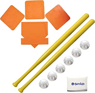 """product image for WIFFLE Ball 6 Baseballs Official Size - 6 Pack Ball 32"""" Bats 2 Pack, BSN Orange Throw Down Bases (5 Piece), Gift Set Bundle + Bonus NOIS Tissue Pack"""