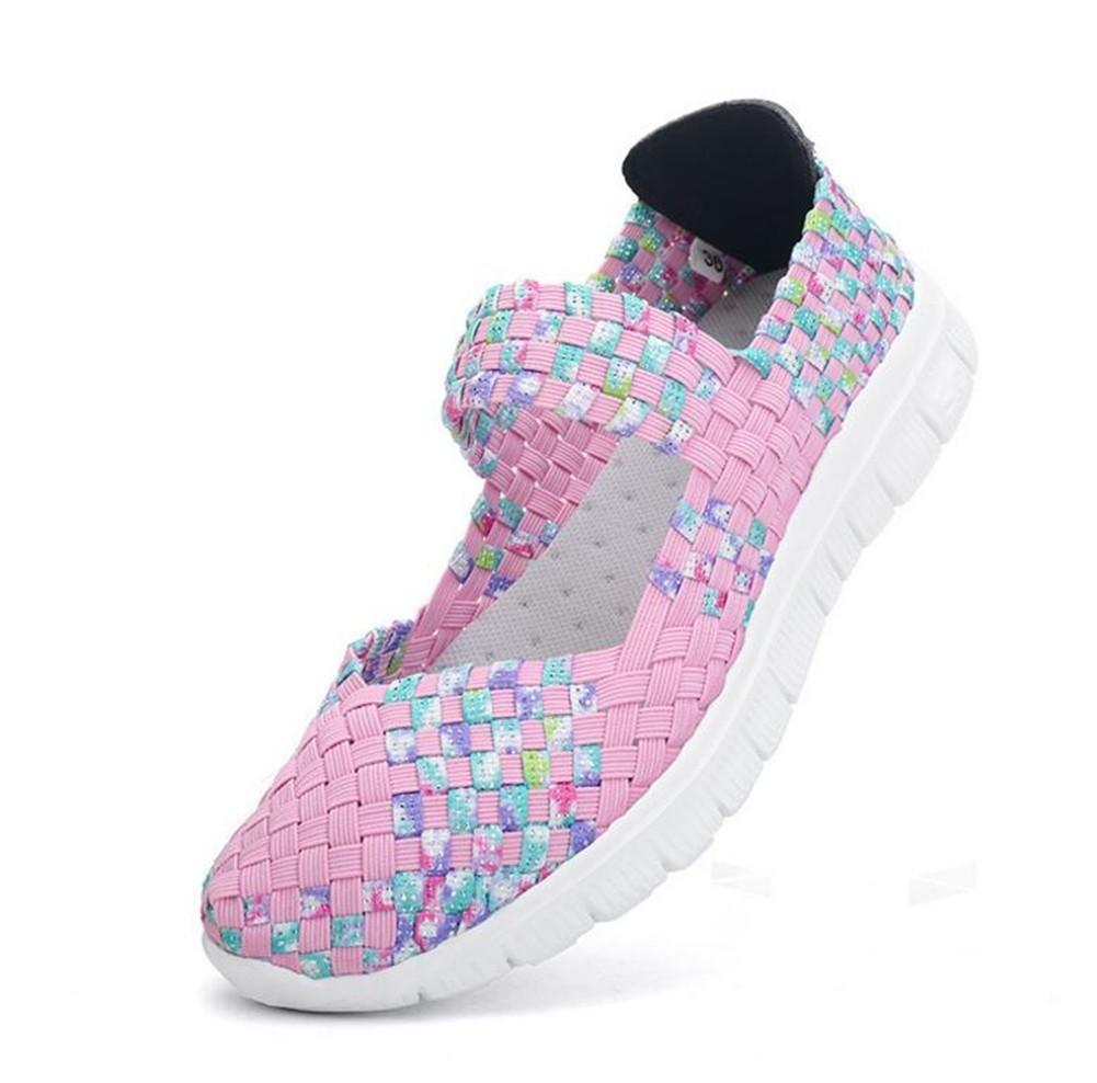 XIE Mujeres Tejidas a Mano Slip-On Zapatos Señoras Baja para Ayudar a la Primavera y Verano Solo Zapatos, Colorful Powder, 41 41 colorful powder