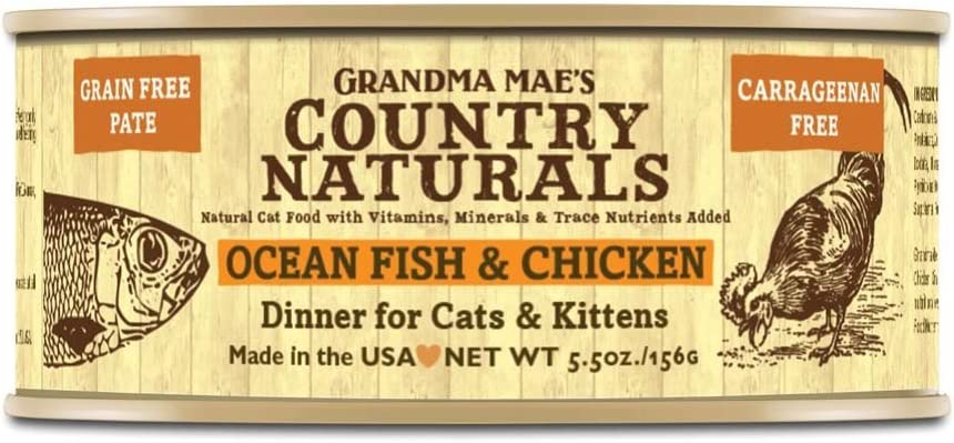 Grandma Mae'S 79700184 5.5 Oz Grain Free Ocean Fish & Chicken Cat Food (24 Pack), One Size