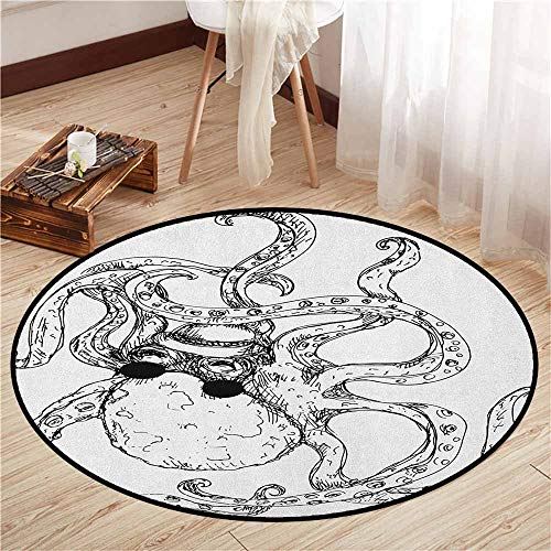 Bedroom Round Rugs,Octopus,Hipster Octopus Tattoo Style Artwork Undersea Creature Monster Cartoon Print Art,Anti-Slip Doormat Footpad Machine Washable,4'3