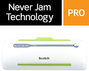 Scotch Pro Thermal Laminator, Never Jam Technology Automatically Prevents Misfed Items, 2 Roller System (TL906)