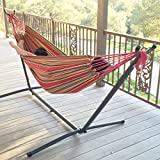 GHP 76''L x 57''W Red Portable Hammock Stand w 450lbs Weight Capacity