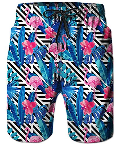 TUONROAD Mens Bathing Suits Funny Patterned Pink Flamingo Black White Stripe Boys Swim Trunks Brazilian Swim Shorts Knee Length Beach Shorts