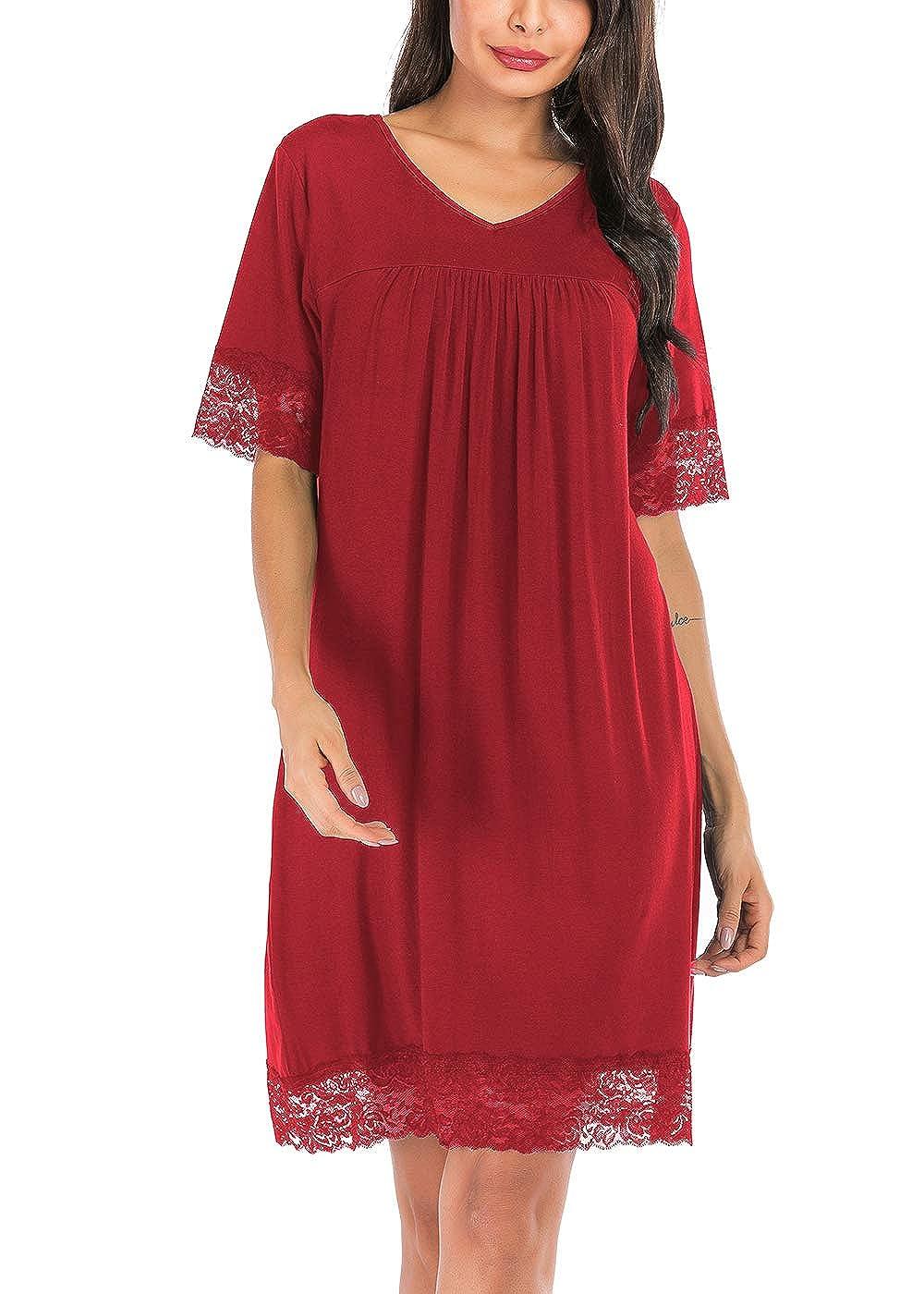ABirdon Womens Cotton Nightdress Lace Trim V-Neck Nightwear Short Sleeve Nightshirt Sleepwear
