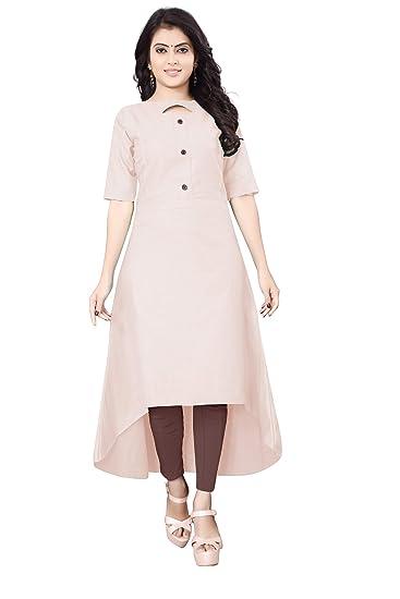 0e4e8221d632 Leriya Fashion Women's Half-Sleeve Anarkali Slub Rayon Kurti (Beige, Medium)