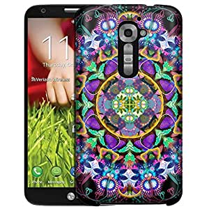 LG Verizon G2 Case, Slim Fit Snap On Cover by Trek Mandala Bright Flowers on Black Case