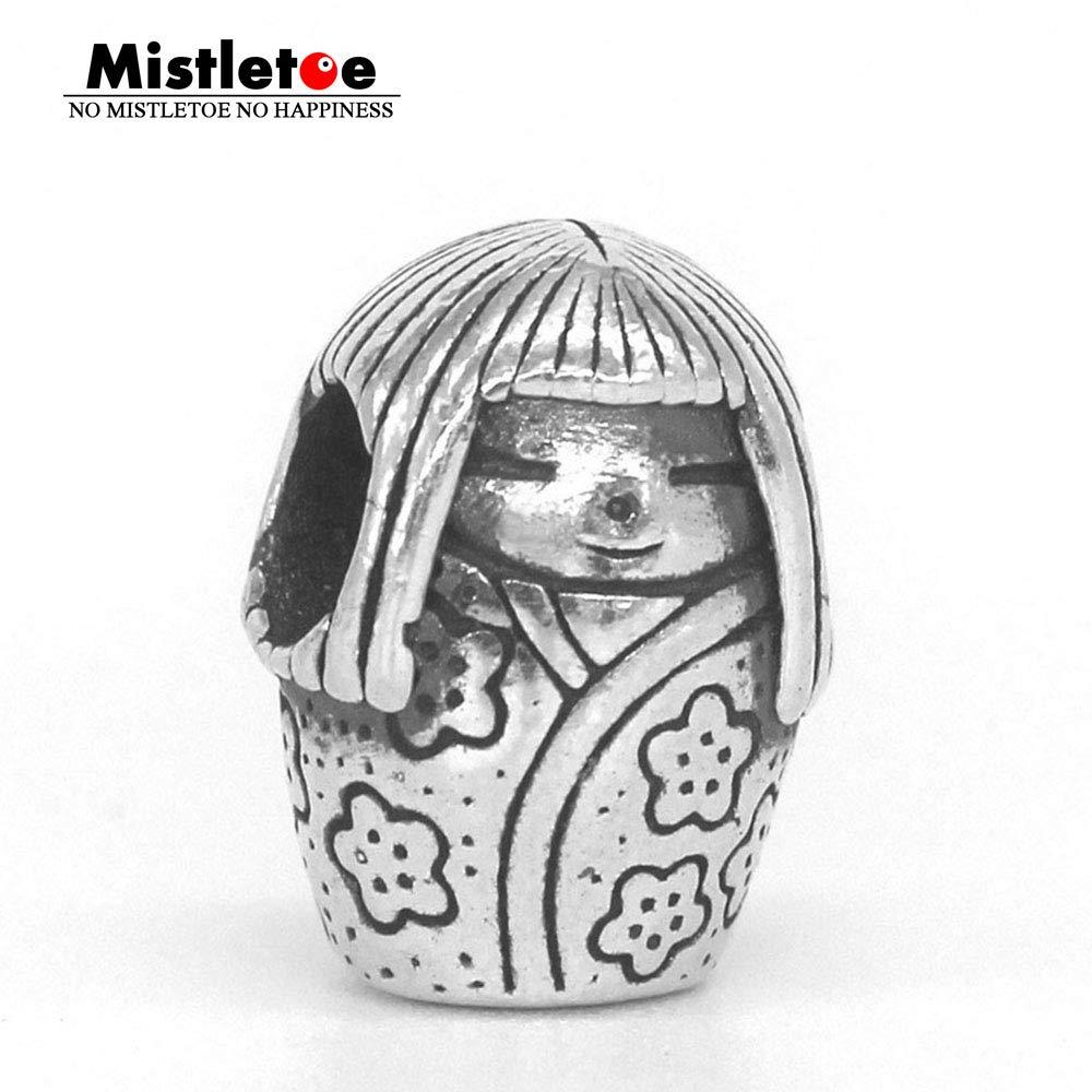 Calvas Mistletoe Genuine 925 Sterling Silver Japanese Doll Charm Bead Fit OHM Troll and Pan Bracelet Jewelry